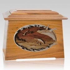 Whale & Calf Oak Aristocrat Cremation Urn