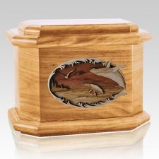 Whale & Calf Oak Octagon Cremation Urn