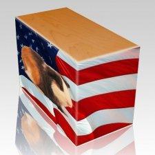 US Flag Oak Pet Picture Urn III