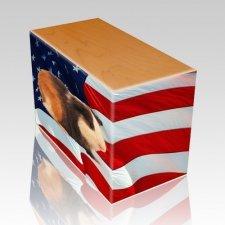 US Flag Oak Pet Picture Urn II