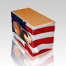 US Flag Oak Pet Picture Urn