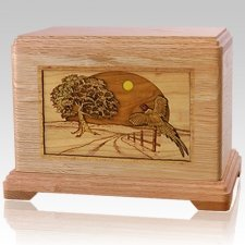Winding Road Oak Cremation Urn For Two