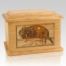 Pheasant Oak Memory Chest Cremation Urn