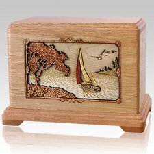 Sailing Oak Cremation Urn For Two