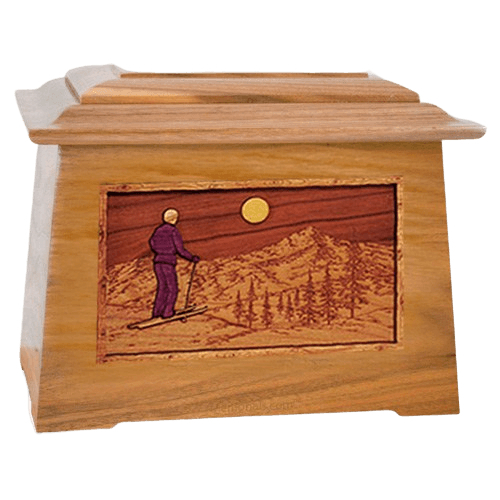 Skiing Oak Aristocrat Cremation Urn