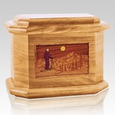 Skiing Oak Octagon Cremation Urn