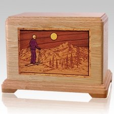 Skiing Oak Cremation Urn For Two