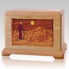 Skiing Oak Hampton Cremation Urn