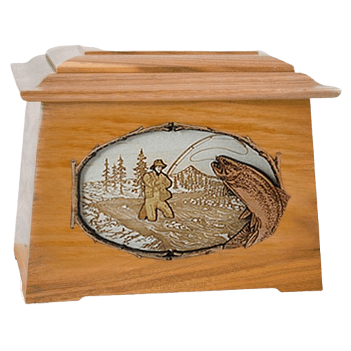 Fly Fishing Oak Aristocrat Cremation Urn
