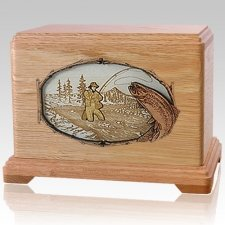 Fisherman Oak Cremation Urn For Two