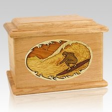 Surfer Oak Memory Chest Cremation Urn