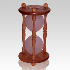 Hourglass Pillar Oak Pet Urn