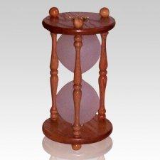 Hourglass Pillar Oak Keepsake Urn