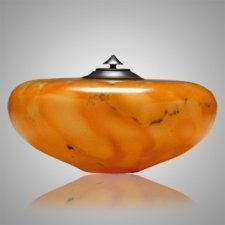 Winds Orange Alabaster Cremation Urn
