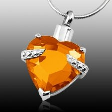 Orange Heart Cremation Jewelry