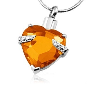Orange Heart Necklace For Ashes