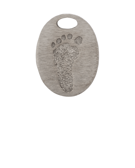 Oval Bronze Footprint Keepsake Pendant