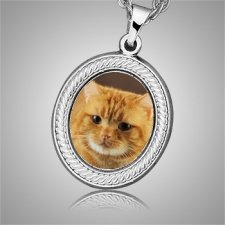 Cat Oval Picture Cremation Pendant