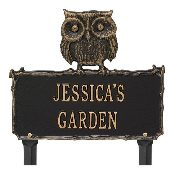 Owl Garden Black Dedication Plaque