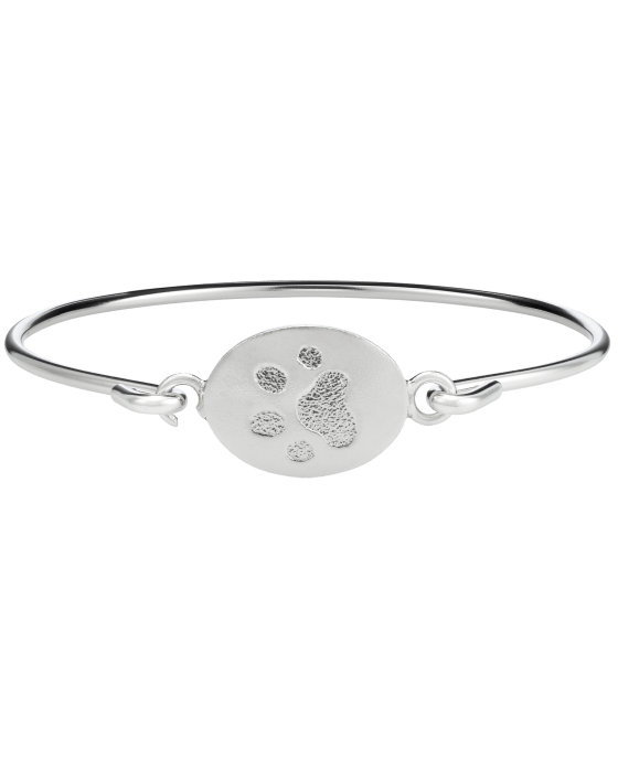 Pet Paw Print White Gold Bangle Bracelet