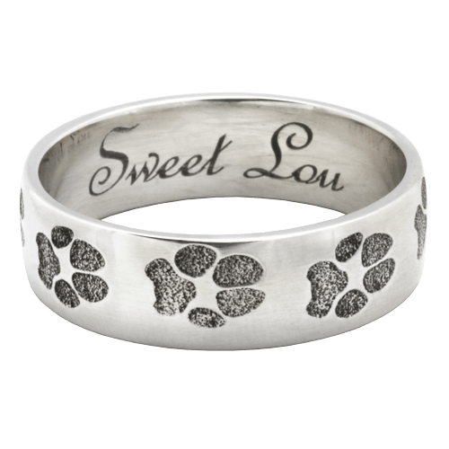 Paw Print 14K White Gold Keepsake Ring