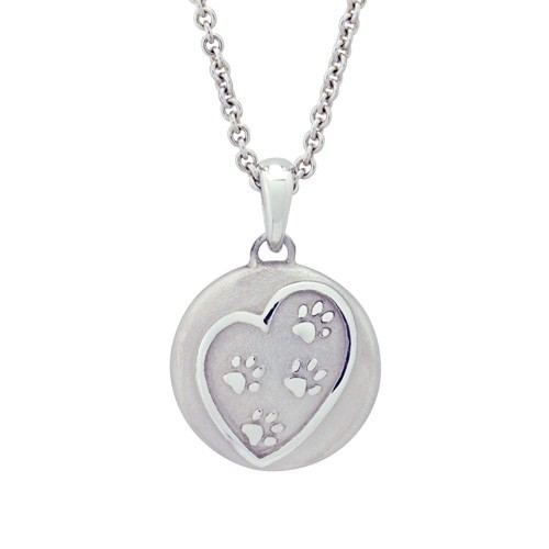 Paws In My Heart Silver Cremation Pendant