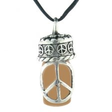 Peace Brown Cremation Urn Necklace