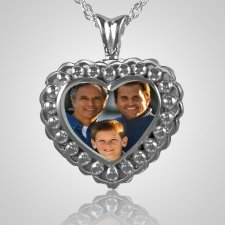 Pearl Photo Heart Cremation Keepsake III