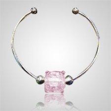 Pink Cube Bead Ash Bracelet