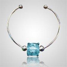 Aqua Cube Bead Ash Bracelet