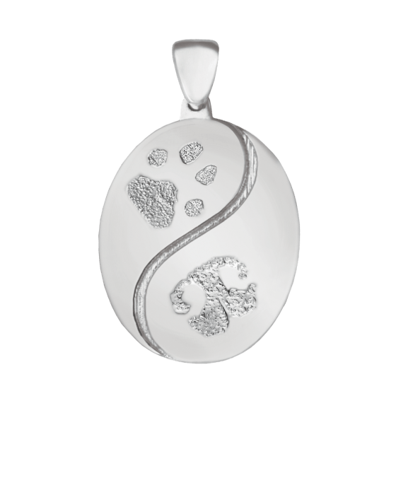 Pet Swirl Print White Gold Keepsake Pendant