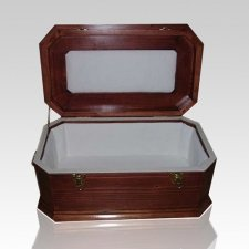 Cherry Wood Pet Casket with White Lining