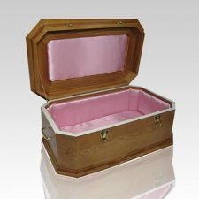Pink Satin with Maple Wood Casket