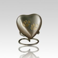 Paw Print Bronze Heart Pet Urn