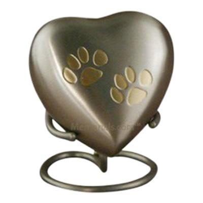 Paw Print Bronze Heart Pet Urn