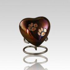 Paw Print Raku Heart Pet Urn