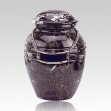 Black Pet Marble Small Urn