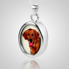 Oval Pet Picture Cremation Pendant III