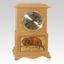 Pheasant Clock Oak Cremation Urn