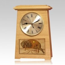 Pheasant Astoria Clock Oak Cremation Urn