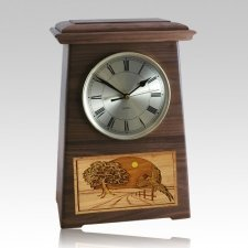 Pheasant Astoria Clock Walnut Cremation Urn