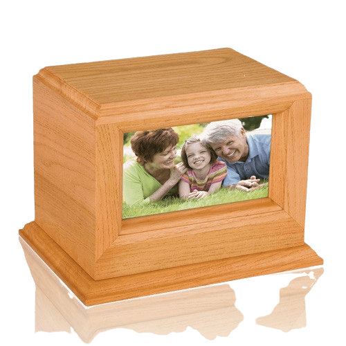 Deluxe Photo Oak Cremation Urn