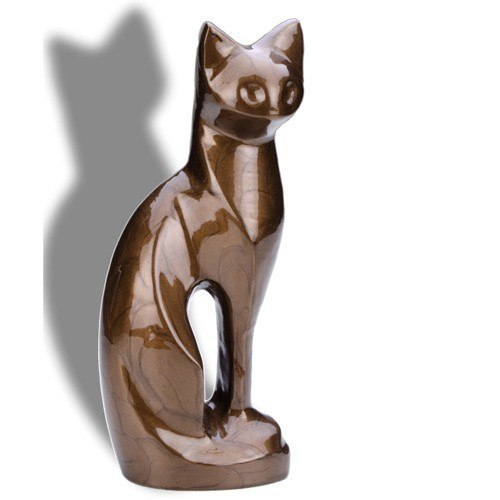Posed Bronze Cat Cremation Urn
