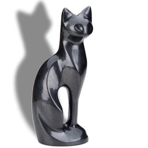 Posed Midnight Cat Cremation Urn