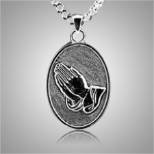 Praying Hands Oval Keepsake Pendant