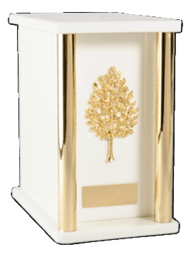 White Column Cremation Urn