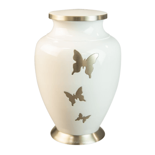 Butterfly Flutter White Cremation Urns