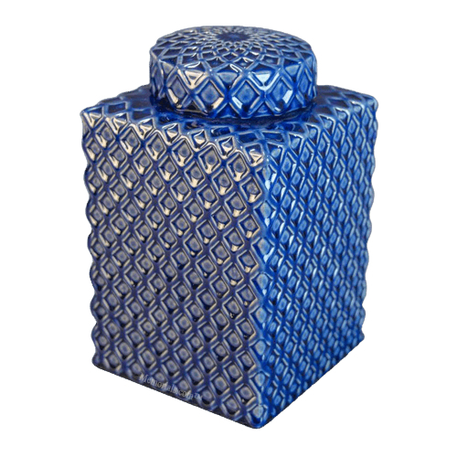 Diamond Blue Jar Cremation Urn