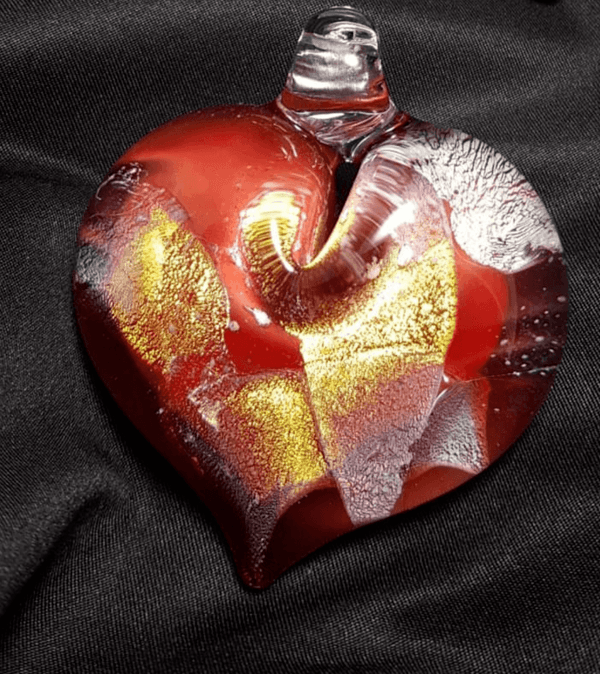 Red And Gold Heart Glass Pendant