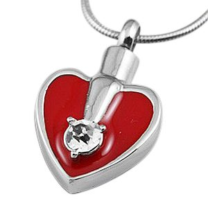 Red Crystal Heart Cremation Jewelry